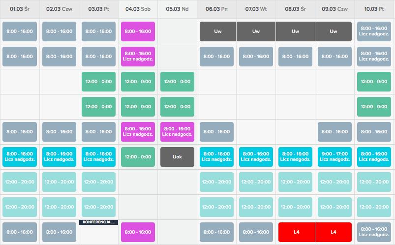 jak układać grafiki pracy proste planowanie urlopu w systemie do rejestracji czasu pracy inewi