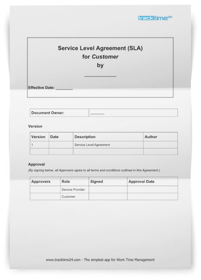 Service Level Agreement Sla Free Template