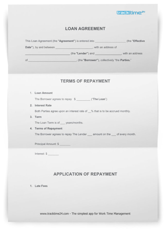 Loan Agreement Free Template Word Pdf Download Tracktime24