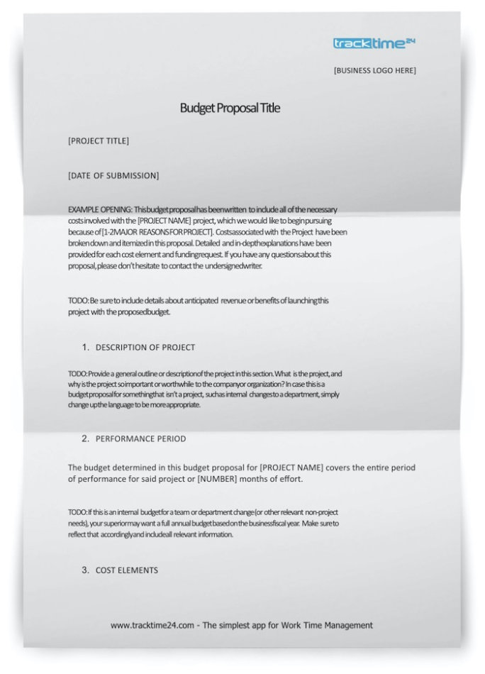 Project Budget Proposal Template Sample Free Download Word